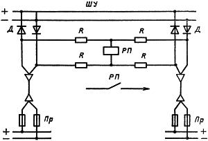 Рисунок 2. Электрическая схема питания шинок управления через разделительные диоды с реле контроля исправности параллельных источников