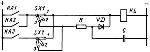 Электрическая схема ввода задержки мгновенных защит от междуфазных и однофазных к. з. шиносоединительного выключателя